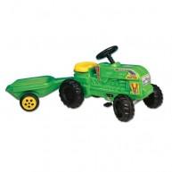 DOHÁNY műanyag pedálos traktor utánfutóval gyerekeknek zöld