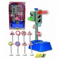 DICKIE működő közlekedési lámpa KRESZ táblákkal autós játékokhoz