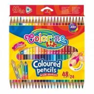 Colorino Kids háromszögű kétvégű 24/48-as színes ceruzakészlet (1 arany-ezüst és 3 fluo ceruzával)   51705PTR