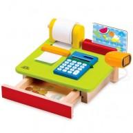 Wonderworld pénztárgép fából számológéppel és kártyaolvasó kialakítással 4391