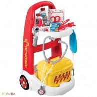 SMOBY játék orvosi kocsi sárga orvosi táskával 16 részes 340201
