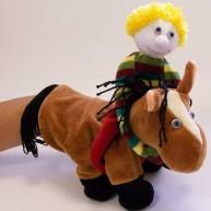Kesztyűbáb felnőtt kézre kisfiú lovon 2591