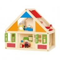 Viga Fa babaház 1 emeletes fa játék bútorokkal és 1pár fafigurával 0785