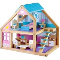 Mentari fa babaház 1 emeletes kék-lila játék bútorokkal 4257
