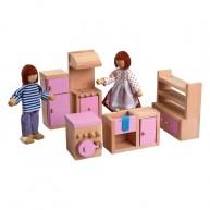 IMP-EX fa babaház bababútorokkal -  játék konyha 3512A