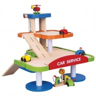 VIGA fa garázs játék autókkal benzinkúttal helikopterleszállóval 3040