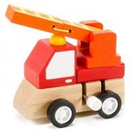 Felhúzható játék tűzoltóautó fából 2874A