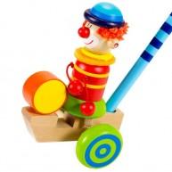 Tologatós fa játék - doboló bohóc zöld kerekekkel 2304-E