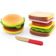VIGA játék szendvics és hamburger fából feltétekkel 4474