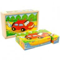 VIGA Képkirakós mesekocka puzzle autós 15db-os 0136