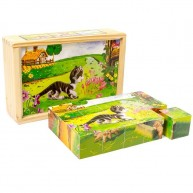 VIGA Képkirakó mesekocka puzzle háziállatok 15db-os 0137