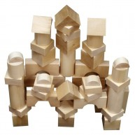 Fa építőkocka óriás natúr 7 cm-es/db - 44 db-os 0211