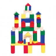 Fa építőkocka óriás színes 7 cm-es/db - 44 db-os 0215