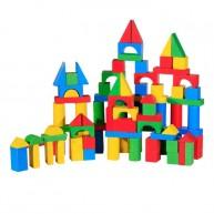 Fa építőkocka készlet, 100 db-os , színes 3509