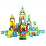 Fa építőkocka készlet, 100 db-os , színes és mintás  3510