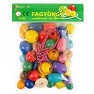 IMP-EX színes fa gyöngyök bőr kötéllel 50db-os szett - 1221