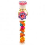 VIGA gyöngyök nyaklánc fűzéshez fából üvegcsében virágos 3983E