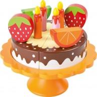 Legler fa szeletelhető játék születésnapi torta gyümölcsökkel tortaállványon 10167