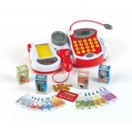 KLEIN elektromos pénztárgép mikrofonnal, vonalkódolvasóval, kasszával, játékpénzzel éd kiegészítőkkel 9373
