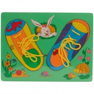 Fűzőcskés , cipő alakú fa puzzle - nyuszis 0106