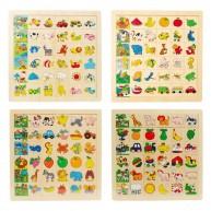 IMP-EX Képkereső sorba rakós fa puzzle, 4 fajta 3248