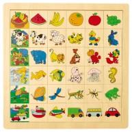 IMP-EX Képkereső sorba rakós fa puzzle, dinnyés 0853