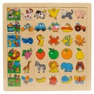 IMP-EX Képkereső sorba rakós fa puzzle kutyás 0082