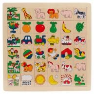 IMP-EX Képkereső sorba rakós fa puzzle  zsiráfos 0081