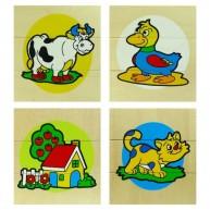 VIGA 3 részes képkirakó, 4 fajta ( boci,kacsa,ház,cica)   0127