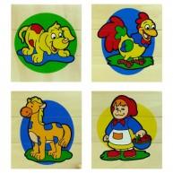 VIGA 3 részes képkirakó, 4 fajta ( kutya, kakas, ló, kislány ) 1953