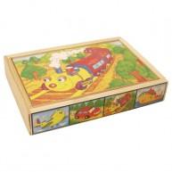 VIGA Puzzle kirakó, 4 fajta, 12db-os , járműves 0036