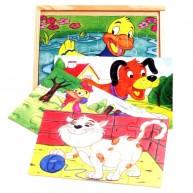 VIGA Puzzle kirakó, 4 fajta, 12db-os háziállatos 2.  0030