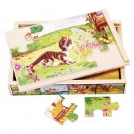 VIGA Puzzle kirakó, 4 fajta, 12db-os háziállatos 0031