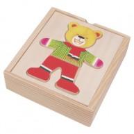 IMP-EX Öltöztethető maci fiú puzzle fa dobozban 0108