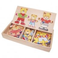 VIGA Öltöztethető 3-as maci család puzzle fa dobozban 0110
