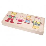 VIGA Öltöztethető 4-es maci család puzzle fa dobozban 0111
