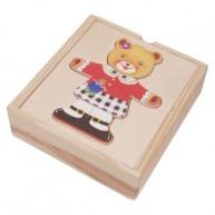 IMP-EX Öltöztethető maci lány puzzle fa dobozban 0112