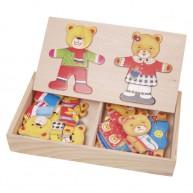 IMP-EX Öltöztethető maci párocska fa puzzle 0109