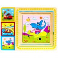 3 puzzle egy készletben, macis-zsiráfos-elefántos 2895