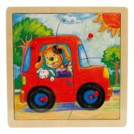VIGA Fogantyús Puzzle 4db-os Autós 1 éves kortól 0041