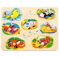 Fogantyús puzzle kicsiknek járműves 1 éves kortól 0052