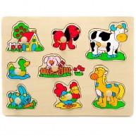 VIGA Fogantyús puzzle kicsiknek farmos 0054