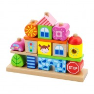 VIGA Montessori kirakó 5 rudas - autó, ház, város 3458