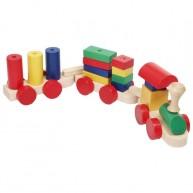 Színes fa vonat építő 2 vagonos 0392