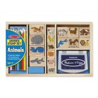 Melissa & Doug  Nyomdakészlet színes ceruzákkal, 16db állatos nyomda 3798