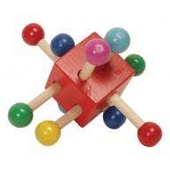 Fa ügyességi kocka babáknak piros 0310A