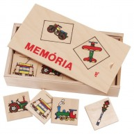 Memória játék gyerekeknek fa lapokkal dobozban - járműves 0140