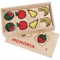 Memória játék gyerekeknek fa lapokkal dobozban - gyümölcsös 0141
