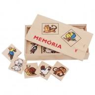 Memória játék gyerekeknek fa lapokkal dobozban - állatos 0142