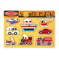 Melissa & Doug Puzzle hangot adó formákkal - Járművek 725